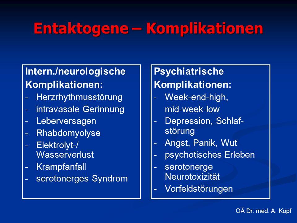 Entaktogene – Komplikationen Intern./neurologische Komplikationen: -Herzrhythmusstörung - intravasale Gerinnung - Leberversagen - Rhabdomyolyse - Elektrolyt-/ Wasserverlust - Krampfanfall - serotonerges Syndrom Psychiatrische Komplikationen: - Week-end-high, mid-week-low - Depression, Schlaf- störung - Angst, Panik, Wut - psychotisches Erleben - serotonerge Neurotoxizität - Vorfeldstörungen OÄ Dr.