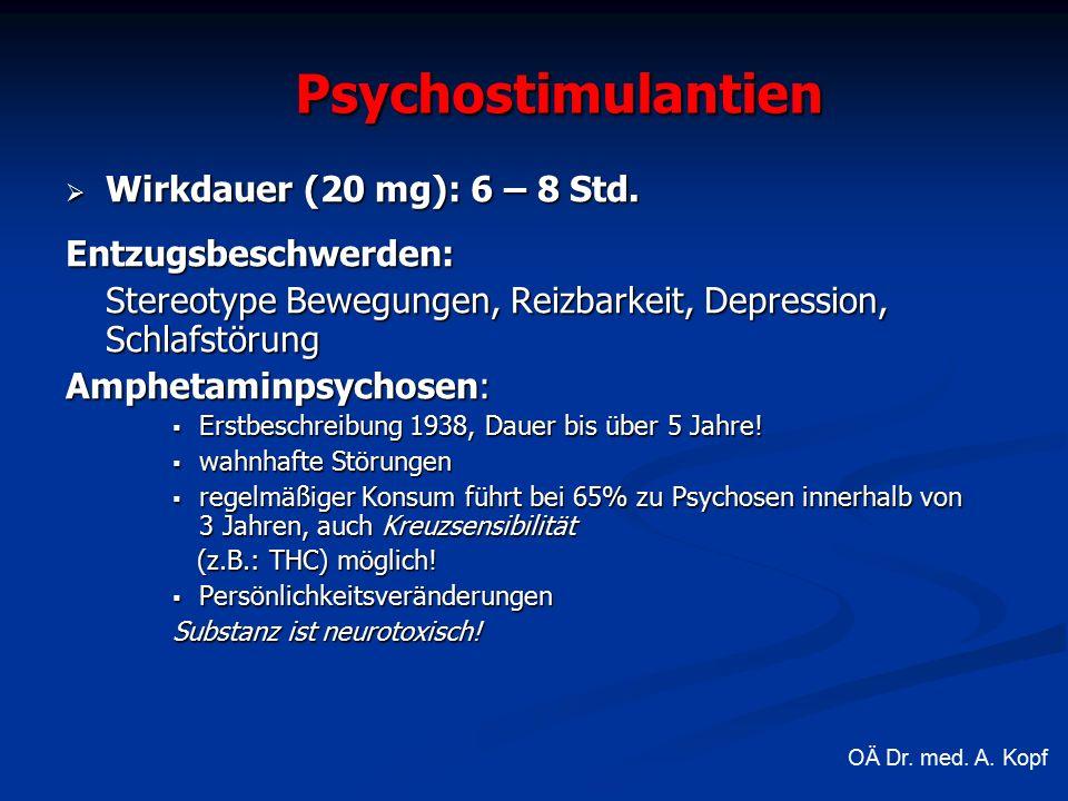  Wirkdauer (20 mg): 6 – 8 Std.