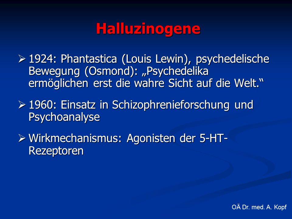""" 1924: Phantastica (Louis Lewin), psychedelische Bewegung (Osmond): """"Psychedelika ermöglichen erst die wahre Sicht auf die Welt.  1960: Einsatz in Schizophrenieforschung und Psychoanalyse  Wirkmechanismus: Agonisten der 5-HT- Rezeptoren Halluzinogene OÄ Dr."""