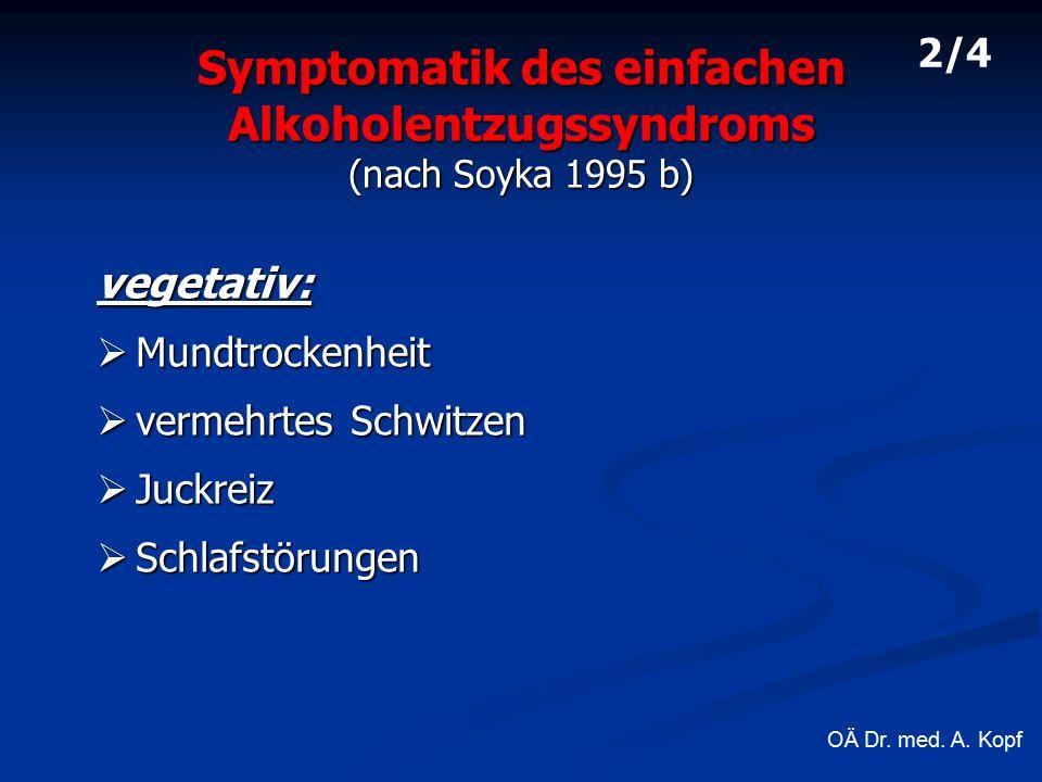 Symptomatik des einfachen Alkoholentzugssyndroms (nach Soyka 1995 b) vegetativ:  Mundtrockenheit  vermehrtes Schwitzen  Juckreiz  Schlafstörungen 2/4 OÄ Dr.