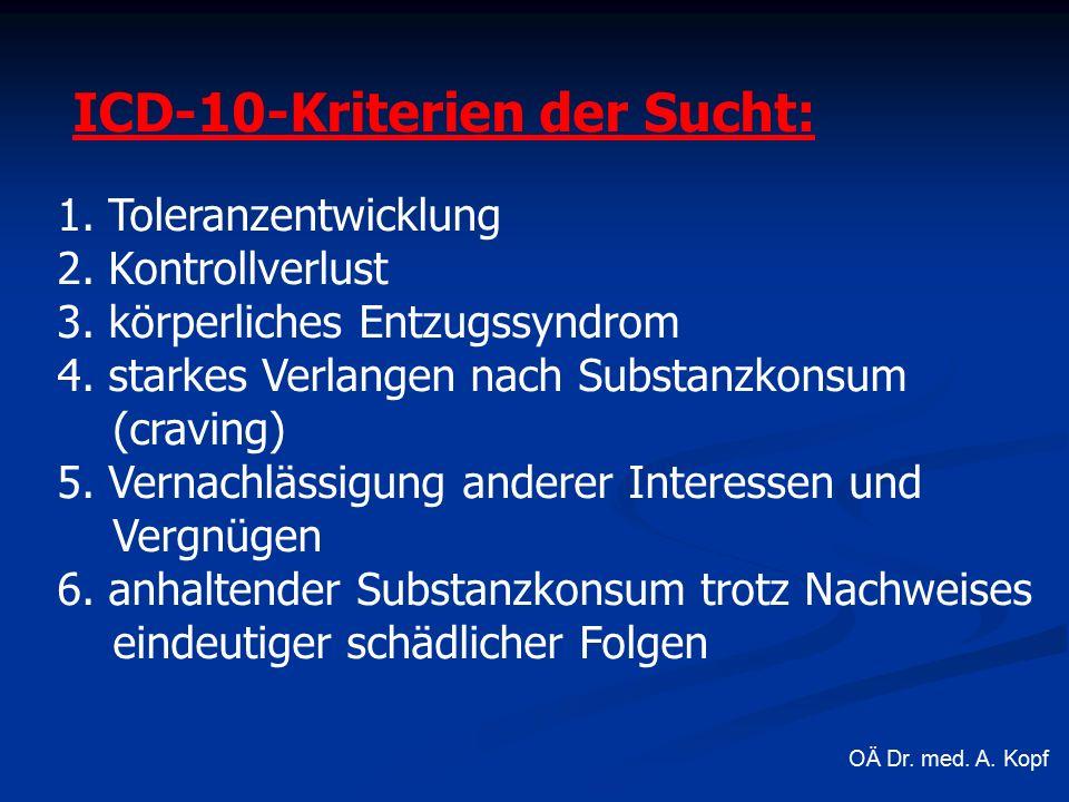 ICD-10-Kriterien der Sucht: 1. Toleranzentwicklung 2.