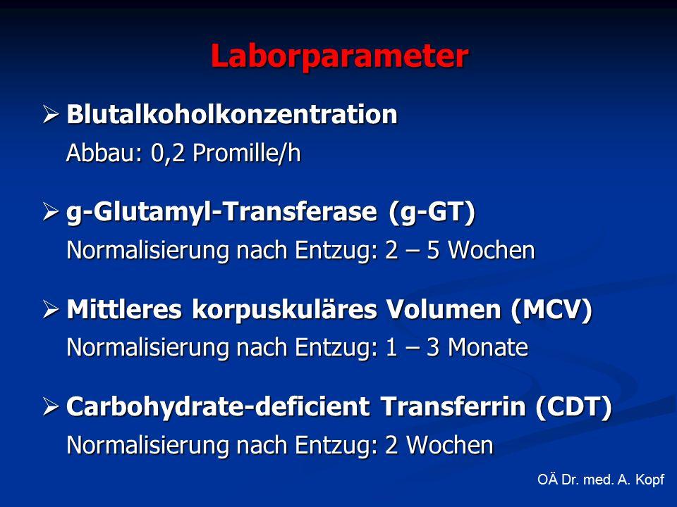 Laborparameter  Blutalkoholkonzentration Abbau: 0,2 Promille/h  g-Glutamyl-Transferase (g-GT) Normalisierung nach Entzug: 2 – 5 Wochen  Mittleres korpuskuläres Volumen (MCV) Normalisierung nach Entzug: 1 – 3 Monate  Carbohydrate-deficient Transferrin (CDT) Normalisierung nach Entzug: 2 Wochen OÄ Dr.