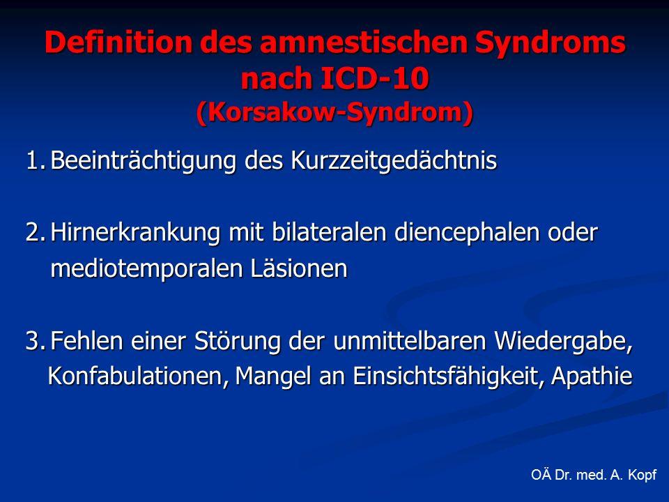 Definition des amnestischen Syndroms nach ICD-10 (Korsakow-Syndrom) 1.Beeinträchtigung des Kurzzeitgedächtnis 2.Hirnerkrankung mit bilateralen diencephalen oder mediotemporalen Läsionen 3.Fehlen einer Störung der unmittelbaren Wiedergabe, Konfabulationen, Mangel an Einsichtsfähigkeit, Apathie Konfabulationen, Mangel an Einsichtsfähigkeit, Apathie OÄ Dr.