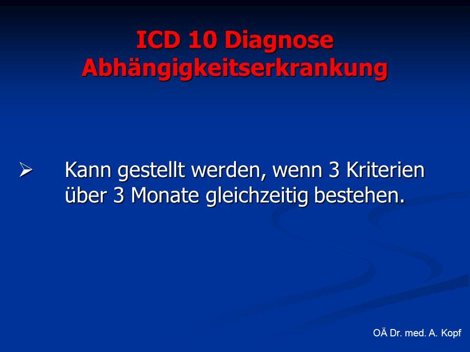 ICD 10 Diagnose Abhängigkeitserkrankung  Kann gestellt werden, wenn 3 Kriterien über 3 Monate gleichzeitig bestehen.