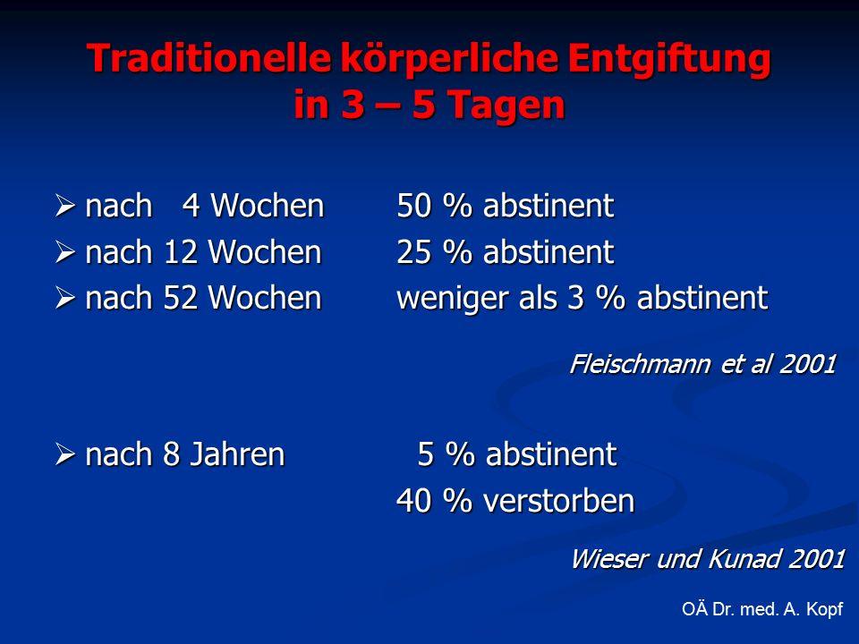 Traditionelle körperliche Entgiftung in 3 – 5 Tagen  nach 4 Wochen 50 % abstinent  nach 12 Wochen 25 % abstinent  nach 52 Wochen weniger als 3 % abstinent Fleischmann et al 2001  nach 8 Jahren 5 % abstinent 40 % verstorben Wieser und Kunad 2001 OÄ Dr.