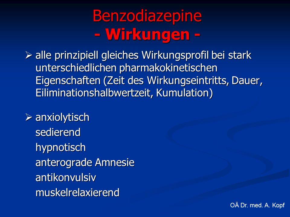  alle prinzipiell gleiches Wirkungsprofil bei stark unterschiedlichen pharmakokinetischen Eigenschaften (Zeit des Wirkungseintritts, Dauer, Eiliminationshalbwertzeit, Kumulation)  anxiolytisch sedierendhypnotisch anterograde Amnesie antikonvulsivmuskelrelaxierend Benzodiazepine - Wirkungen - OÄ Dr.
