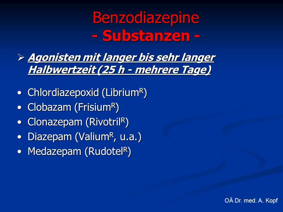  Agonisten mit langer bis sehr langer Halbwertzeit (25 h - mehrere Tage) Chlordiazepoxid (Librium R )Chlordiazepoxid (Librium R ) Clobazam (Frisium R )Clobazam (Frisium R ) Clonazepam (Rivotril R )Clonazepam (Rivotril R ) Diazepam (Valium R, u.a.)Diazepam (Valium R, u.a.) Medazepam (Rudotel R )Medazepam (Rudotel R ) Benzodiazepine - Substanzen - OÄ Dr.