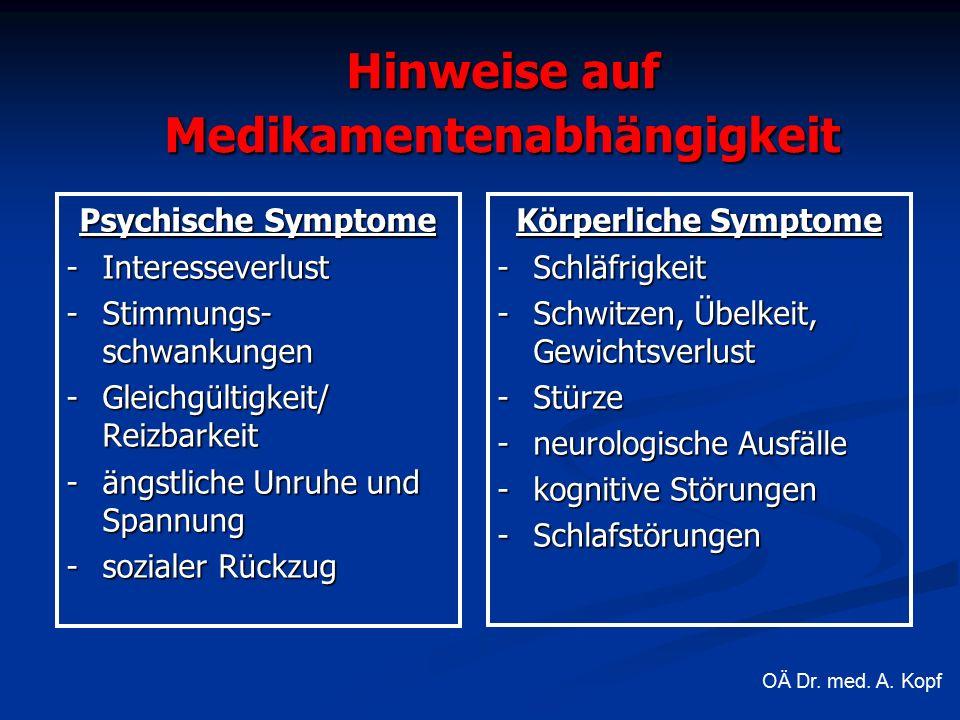 Hinweise auf Medikamentenabhängigkeit Psychische Symptome -Interesseverlust -Stimmungs- schwankungen -Gleichgültigkeit/ Reizbarkeit -ängstliche Unruhe und Spannung -sozialer Rückzug Körperliche Symptome -Schläfrigkeit -Schwitzen, Übelkeit, Gewichtsverlust -Stürze -neurologische Ausfälle -kognitive Störungen -Schlafstörungen OÄ Dr.
