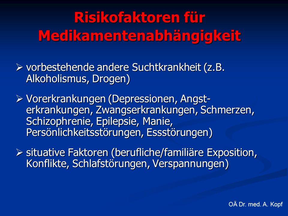 Risikofaktoren für Medikamentenabhängigkeit  vorbestehende andere Suchtkrankheit (z.B.