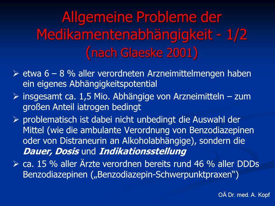 Allgemeine Probleme der Medikamentenabhängigkeit - 1/2 ( nach Glaeske 2001 )   etwa 6 – 8 % aller verordneten Arzneimittelmengen haben ein eigenes Abhängigkeitspotential   insgesamt ca.
