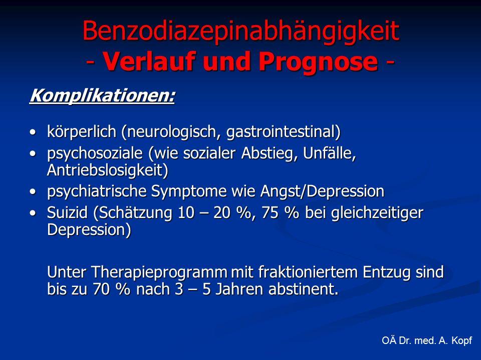 Benzodiazepinabhängigkeit - Verlauf und Prognose - Komplikationen: körperlich (neurologisch, gastrointestinal)körperlich (neurologisch, gastrointestinal) psychosoziale (wie sozialer Abstieg, Unfälle, Antriebslosigkeit)psychosoziale (wie sozialer Abstieg, Unfälle, Antriebslosigkeit) psychiatrische Symptome wie Angst/Depressionpsychiatrische Symptome wie Angst/Depression Suizid (Schätzung 10 – 20 %, 75 % bei gleichzeitiger Depression)Suizid (Schätzung 10 – 20 %, 75 % bei gleichzeitiger Depression) Unter Therapieprogramm mit fraktioniertem Entzug sind bis zu 70 % nach 3 – 5 Jahren abstinent.