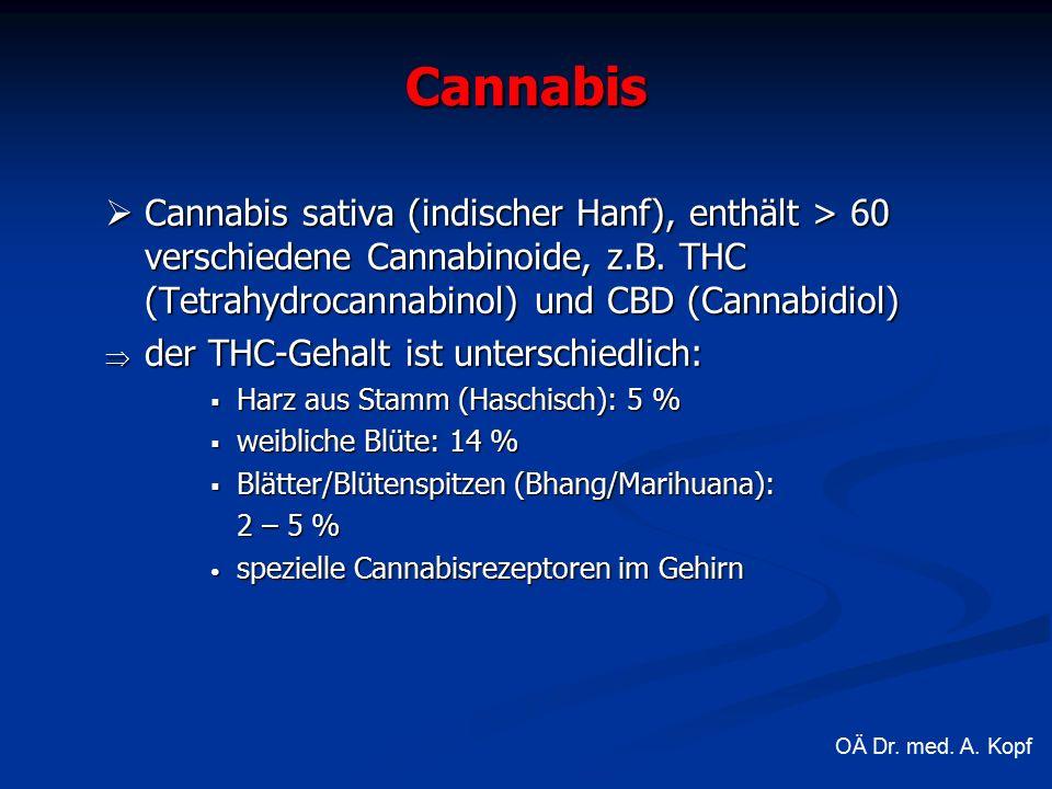 Cannabis  Cannabis sativa (indischer Hanf), enthält > 60 verschiedene Cannabinoide, z.B.