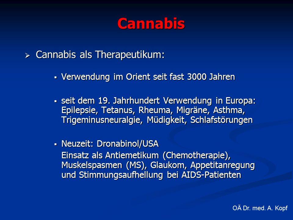 Cannabis  Cannabis als Therapeutikum:  Verwendung im Orient seit fast 3000 Jahren  seit dem 19.