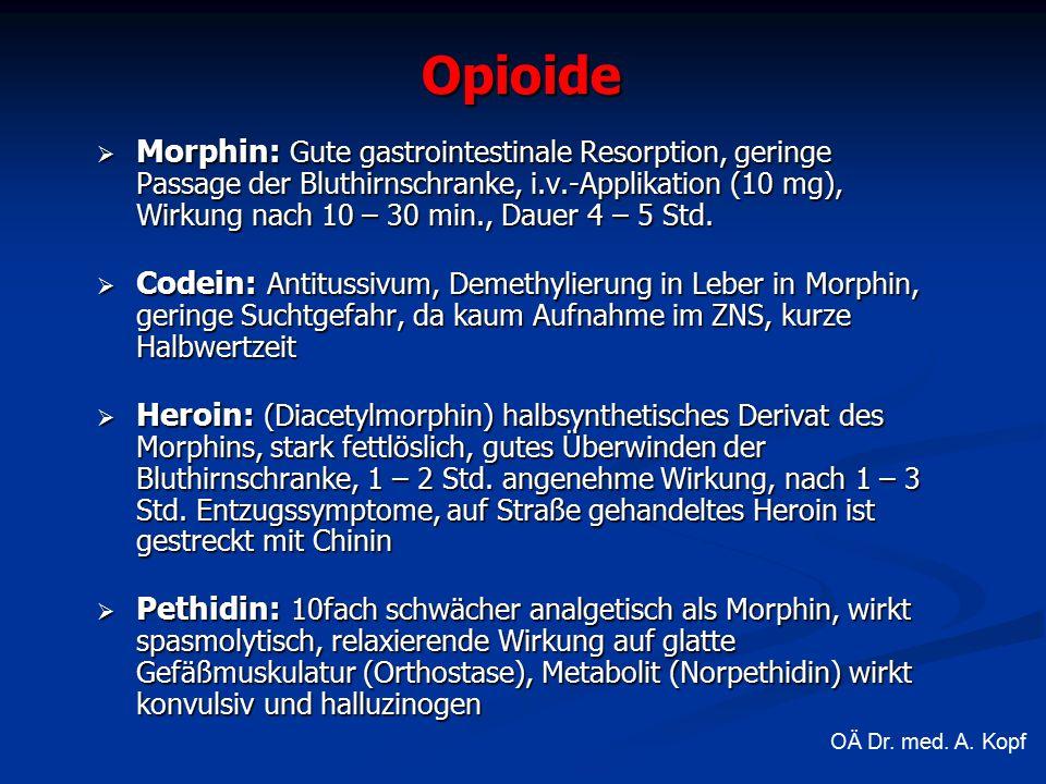  Morphin: Gute gastrointestinale Resorption, geringe Passage der Bluthirnschranke, i.v.-Applikation (10 mg), Wirkung nach 10 – 30 min., Dauer 4 – 5 Std.