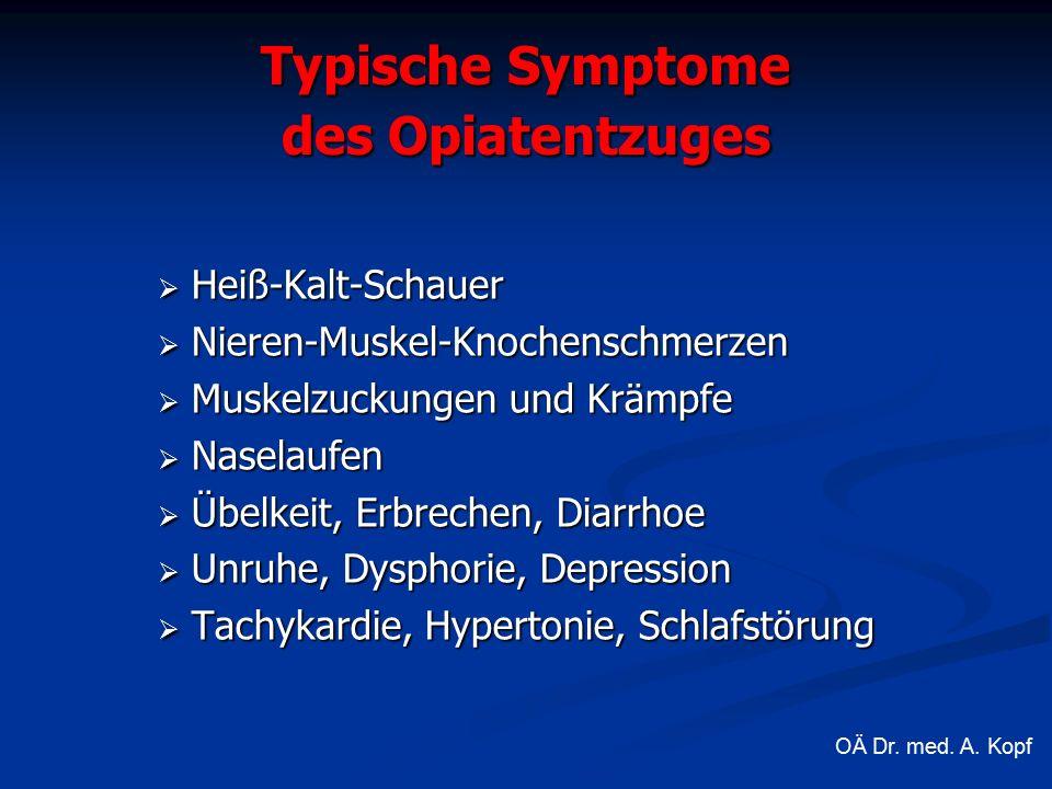 Typische Symptome des Opiatentzuges  Heiß-Kalt-Schauer  Nieren-Muskel-Knochenschmerzen  Muskelzuckungen und Krämpfe  Naselaufen  Übelkeit, Erbrechen, Diarrhoe  Unruhe, Dysphorie, Depression  Tachykardie, Hypertonie, Schlafstörung OÄ Dr.