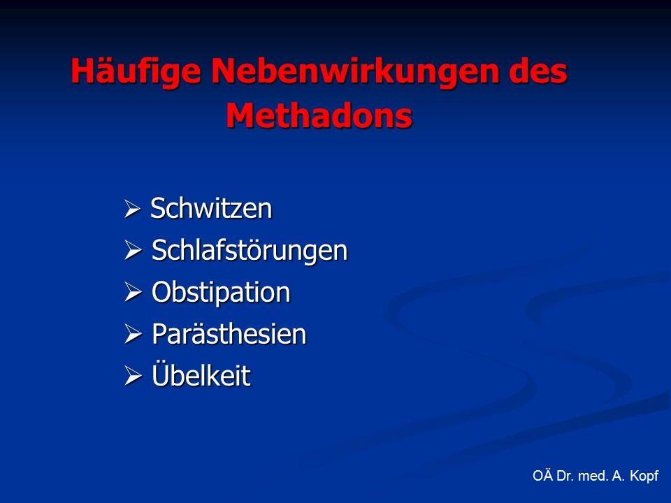 Häufige Nebenwirkungen des Methadons  Schwitzen  Schlafstörungen  Obstipation  Parästhesien  Übelkeit OÄ Dr.