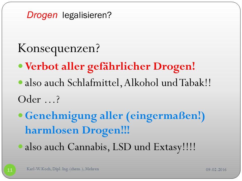 Drogen legalisieren. VerbotenErlaubt 09.02.2016 Karl-W.
