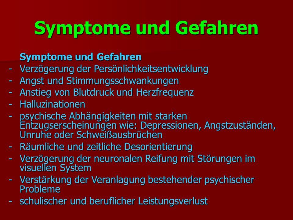 Symptome und Gefahren Symptome und Gefahren -Verzögerung der Persönlichkeitsentwicklung -Angst und Stimmungsschwankungen -Anstieg von Blutdruck und Herzfrequenz -Halluzinationen -psychische Abhängigkeiten mit starken Entzugserscheinungen wie: Depressionen, Angstzuständen, Unruhe oder Schweißausbrüchen -Räumliche und zeitliche Desorientierung -Verzögerung der neuronalen Reifung mit Störungen im visuellen System -Verstärkung der Veranlagung bestehender psychischer Probleme -schulischer und beruflicher Leistungsverlust