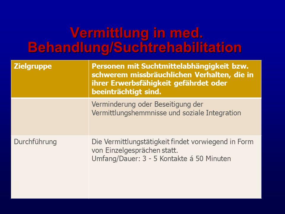 Vermittlung in med.Behandlung/Suchtrehabilitation Vermittlung in med.