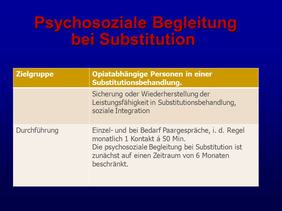 Psychosoziale Begleitung bei Substitution Psychosoziale Begleitung bei Substitution ZielgruppeOpiatabhängige Personen in einer Substitutionsbehandlung.