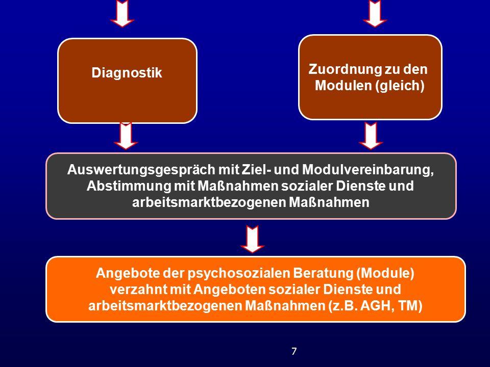 7 Diagnostik Zuordnung zu den Modulen (gleich) Auswertungsgespräch mit Ziel- und Modulvereinbarung, Abstimmung mit Maßnahmen sozialer Dienste und arbeitsmarktbezogenen Maßnahmen Angebote der psychosozialen Beratung (Module) verzahnt mit Angeboten sozialer Dienste und arbeitsmarktbezogenen Maßnahmen (z.B.