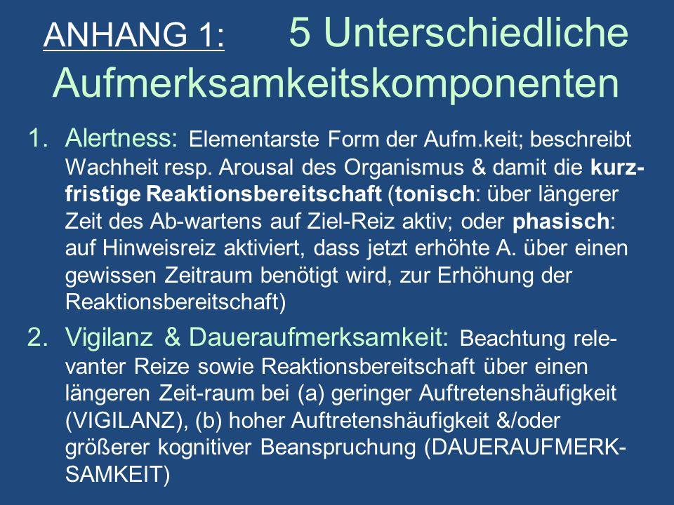 ANHANG 1: 5 Unterschiedliche Aufmerksamkeitskomponenten 1.Alertness: Elementarste Form der Aufm.keit; beschreibt Wachheit resp.