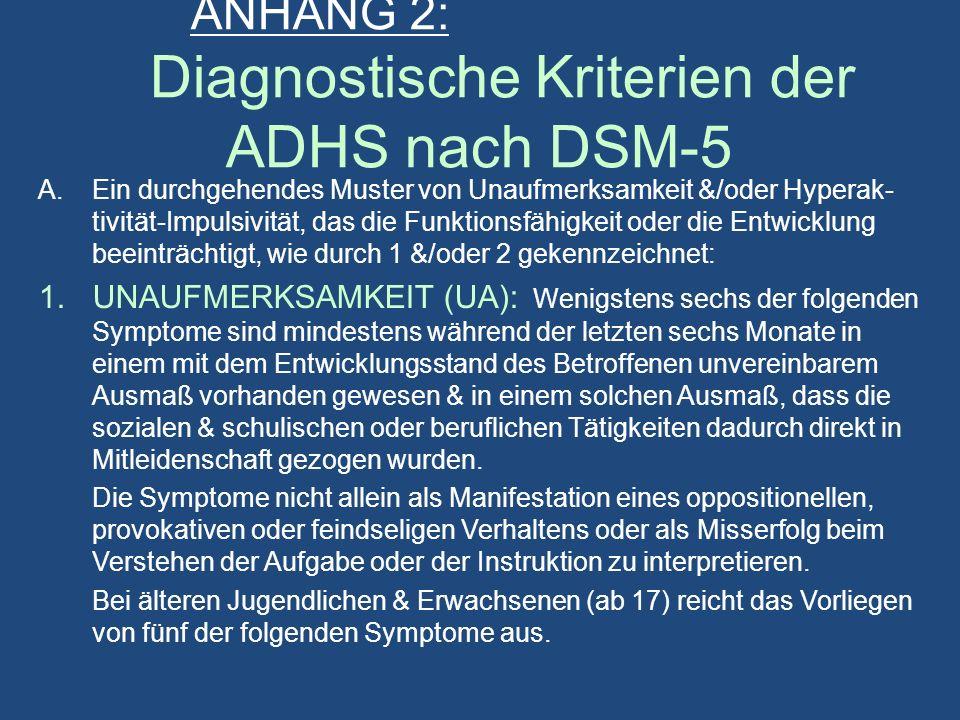 ANHANG 2: Diagnostische Kriterien der ADHS nach DSM-5 A.Ein durchgehendes Muster von Unaufmerksamkeit &/oder Hyperak- tivität-Impulsivität, das die Funktionsfähigkeit oder die Entwicklung beeinträchtigt, wie durch 1 &/oder 2 gekennzeichnet: 1.UNAUFMERKSAMKEIT (UA): Wenigstens sechs der folgenden Symptome sind mindestens während der letzten sechs Monate in einem mit dem Entwicklungsstand des Betroffenen unvereinbarem Ausmaß vorhanden gewesen & in einem solchen Ausmaß, dass die sozialen & schulischen oder beruflichen Tätigkeiten dadurch direkt in Mitleidenschaft gezogen wurden.