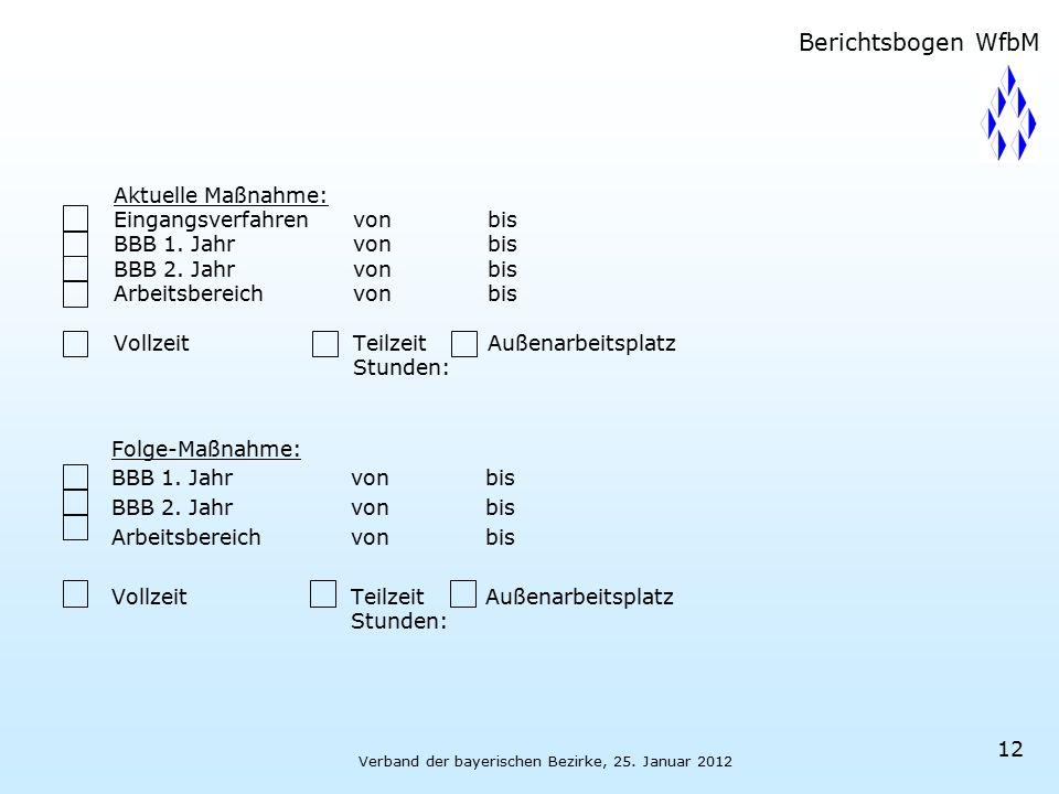 Verband der bayerischen Bezirke, 25. Januar 2012 12 Aktuelle Maßnahme: Eingangsverfahrenvon bis BBB 1. Jahrvon bis BBB 2. Jahrvon bis Arbeitsbereichvo