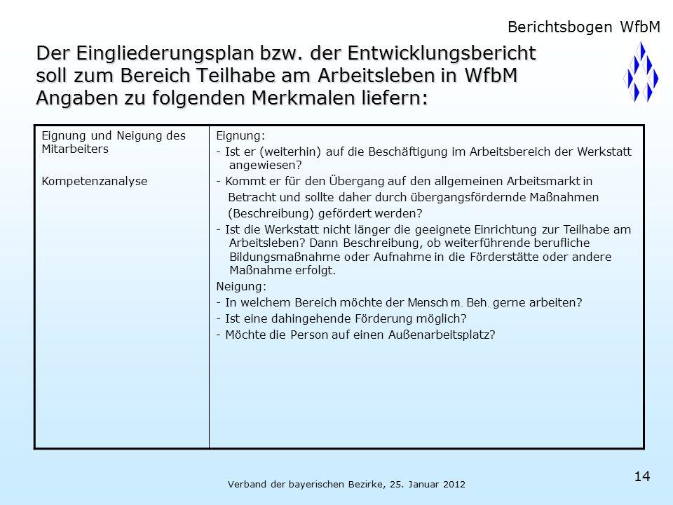 Verband der bayerischen Bezirke, 25. Januar 2012 14 Der Eingliederungsplan bzw. der Entwicklungsbericht soll zum Bereich Teilhabe am Arbeitsleben in W
