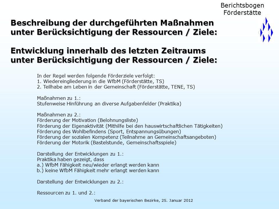 Verband der bayerischen Bezirke, 25. Januar 2012 Berichtsbogen Förderstätte Beschreibung der durchgeführten Maßnahmen unter Berücksichtigung der Resso