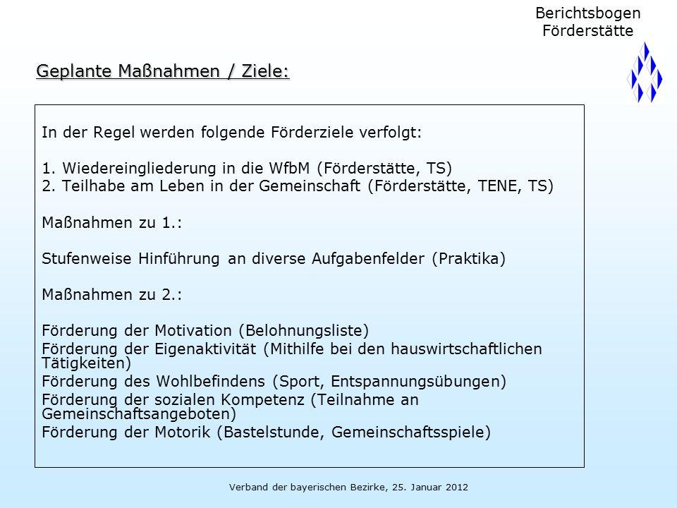 Verband der bayerischen Bezirke, 25. Januar 2012 Geplante Maßnahmen / Ziele: In der Regel werden folgende Förderziele verfolgt: 1. Wiedereingliederung