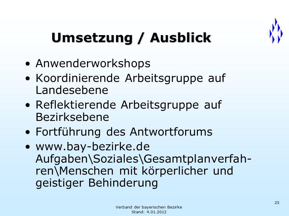 Verband der bayerischen Bezirke Stand: 4.01.2012 25 Umsetzung / Ausblick Anwenderworkshops Koordinierende Arbeitsgruppe auf Landesebene Reflektierende