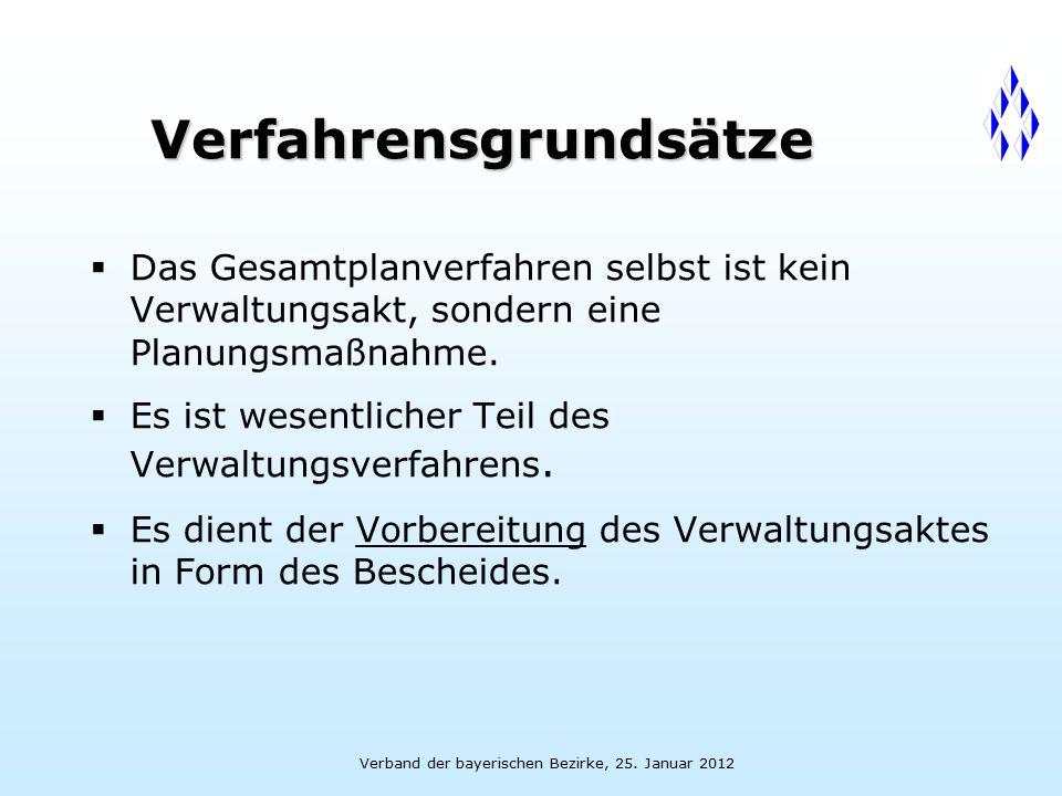 Verband der bayerischen Bezirke, 25. Januar 2012 Verfahrensgrundsätze  Das Gesamtplanverfahren selbst ist kein Verwaltungsakt, sondern eine Planungsm