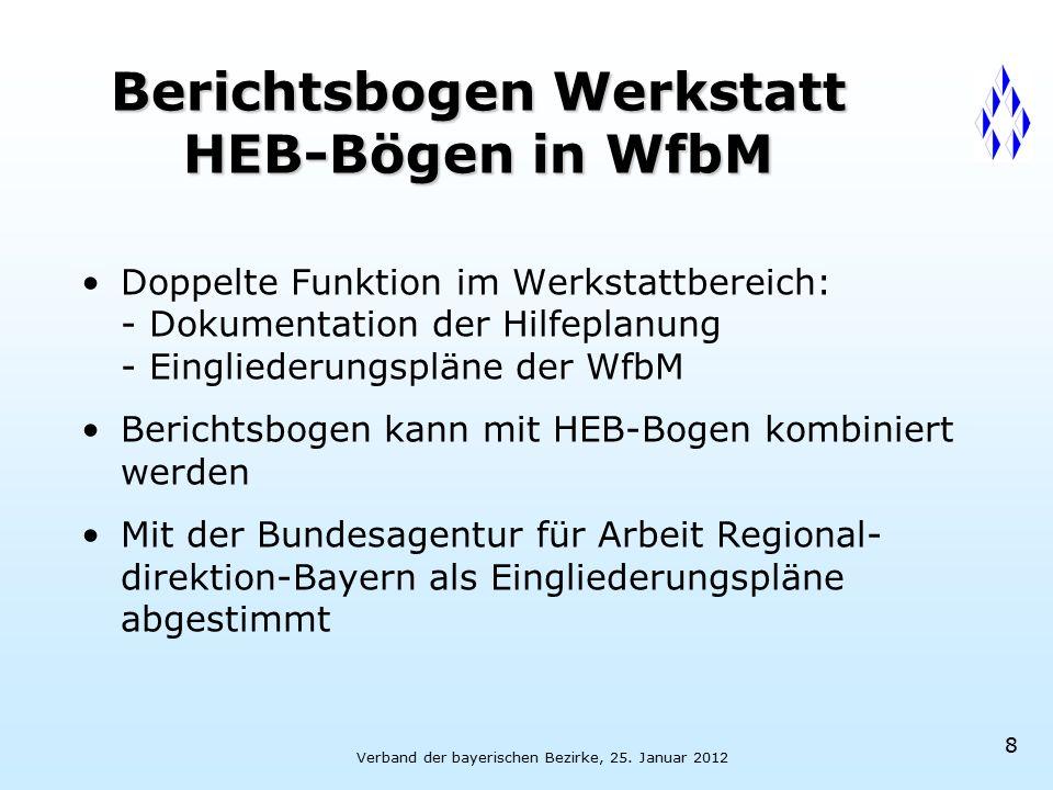 Verband der bayerischen Bezirke, 25. Januar 2012 8 Berichtsbogen Werkstatt HEB-Bögen in WfbM Doppelte Funktion im Werkstattbereich: - Dokumentation de