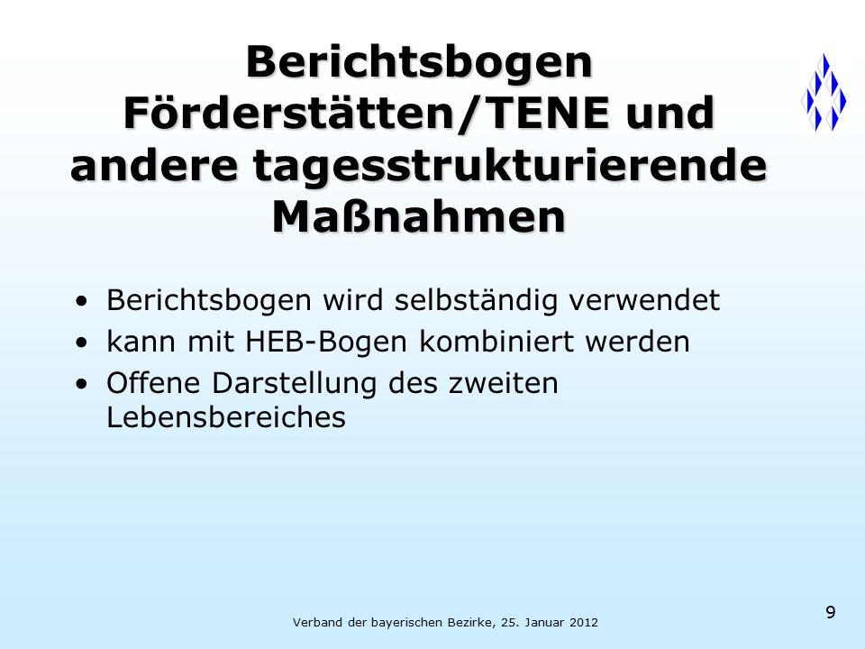 Verband der bayerischen Bezirke, 25. Januar 2012 9 Berichtsbogen Förderstätten/TENE und andere tagesstrukturierende Maßnahmen Berichtsbogen wird selbs