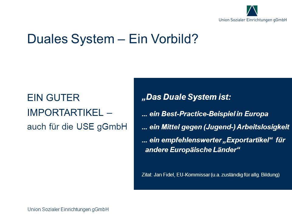 """EIN GUTER IMPORTARTIKEL – auch für die USE gGmbH Duales System – Ein Vorbild? """"Das Duale System ist:... ein Best-Practice-Beispiel in Europa... ein Mi"""