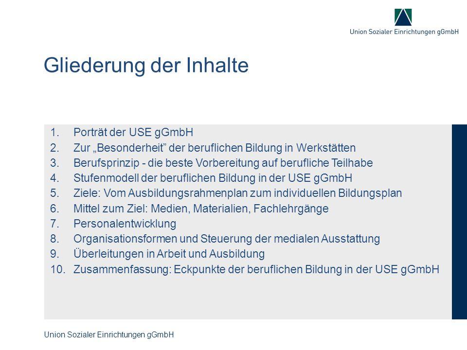 """Erstellungsmaxime Normalisierung als Maßstab (BBiG-Regelungen, anerkannte Berufe, Ausbildungsordnungen) u.a.: - Unterschiede zwischen BRP und ARP werden durch Farbe und Typografie kenntlich gemacht Werkstättenrecht als Maßstab (einschließlich Werkstatt-Empfehlungen und Vereinbarung Rahmenprogramm EV und BBB... ) u.a.: - Inhaltliche und formale Erfüllung der WVO (GK, AK,...) und der Vereinbarung """"Rahmenprogramm EV und BBB - BRP bilden auch Fort- und Weiterbildungsinhalte in den Arbeitsbereichen ab (Modularisierung) Verständlichkeit, Handhabung, Umsetzung u.a.: - Kopierbarkeit auf """"Schwarz-Weiß ohne Informationsverlust - Einfache Dokumentation von """"vermittelt und """"Beherrschung Weitere Erwartungen / Ziele BRP / IBP u.a.: - sind Bildungsprofil und Selbstverpflichtung für jedes Gewerk - sind das """"Rückgrat der beruflichen Bildungskonzeption in der USE gGmbH für Bildungsrahmenpläne (BRP) und Individuelle Bildungspläne (IBP) der USE gGmbH (Auszug aus dem """"Pflichtenheft ) Union Sozialer Einrichtungen gGmbH"""