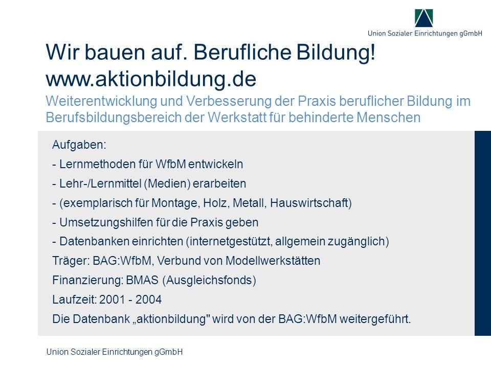 Wir bauen auf. Berufliche Bildung! www.aktionbildung.de Aufgaben: - Lernmethoden für WfbM entwickeln - Lehr-/Lernmittel (Medien) erarbeiten - (exempla
