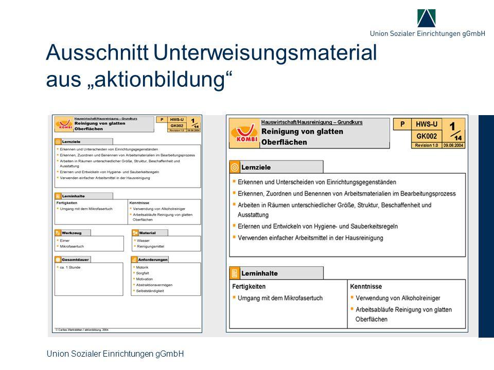 """Ausschnitt Unterweisungsmaterial aus """"aktionbildung"""" Union Sozialer Einrichtungen gGmbH"""