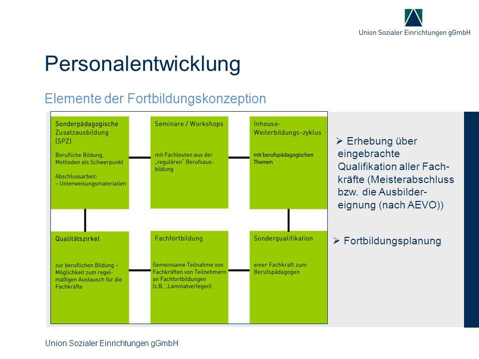 Personalentwicklung Union Sozialer Einrichtungen gGmbH  Erhebung über eingebrachte Qualifikation aller Fach- kräfte (Meisterabschluss bzw. die Ausbil
