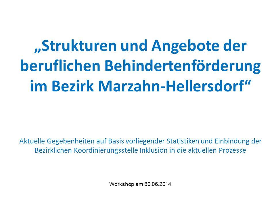 """""""Strukturen und Angebote der beruflichen Behindertenförderung im Bezirk Marzahn-Hellersdorf Aktuelle Gegebenheiten auf Basis vorliegender Statistiken und Einbindung der Bezirklichen Koordinierungsstelle Inklusion in die aktuellen Prozesse Workshop am 30.06.2014"""