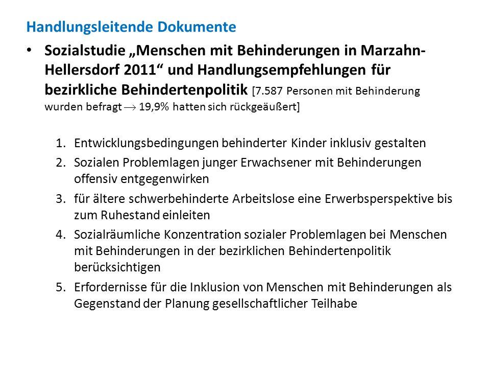 """Handlungsleitende Dokumente Sozialstudie """"Menschen mit Behinderungen in Marzahn- Hellersdorf 2011"""" und Handlungsempfehlungen für bezirkliche Behindert"""