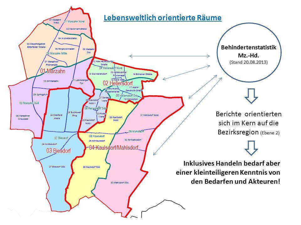 Lebensweltlich orientierte Räume Behindertenstatistik Mz.-Hd. (Stand 20.08.2013) Berichte orientierten sich im Kern auf die Bezirksregion (Ebene 2) In