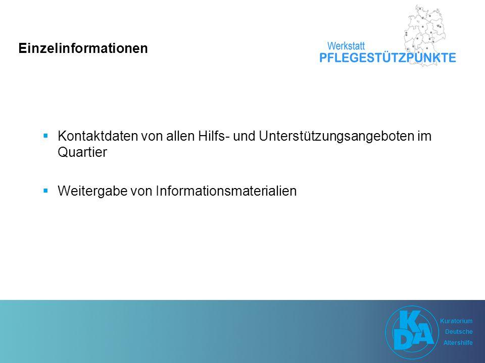 Kuratorium Deutsche Altershilfe Kuratorium Deutsche Altershilfe Einzelinformationen  Kontaktdaten von allen Hilfs- und Unterstützungsangeboten im Quartier  Weitergabe von Informationsmaterialien