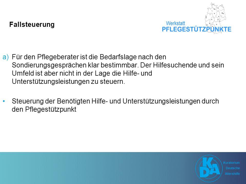 Kuratorium Deutsche Altershilfe Kuratorium Deutsche Altershilfe Fallsteuerung a)Für den Pflegeberater ist die Bedarfslage nach den Sondierungsgesprächen klar bestimmbar.