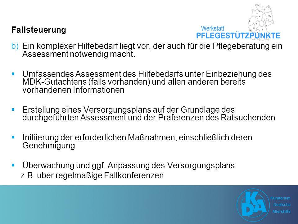 Kuratorium Deutsche Altershilfe Kuratorium Deutsche Altershilfe Fallsteuerung b)Ein komplexer Hilfebedarf liegt vor, der auch für die Pflegeberatung ein Assessment notwendig macht.