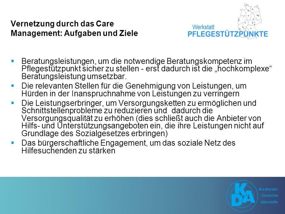 """Kuratorium Deutsche Altershilfe Kuratorium Deutsche Altershilfe Vernetzung durch das Care Management: Aufgaben und Ziele  Beratungsleistungen, um die notwendige Beratungskompetenz im Pflegestützpunkt sicher zu stellen - erst dadurch ist die """"hochkomplexe Beratungsleistung umsetzbar."""