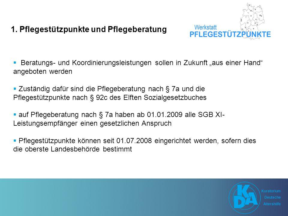 Kuratorium Deutsche Altershilfe Kuratorium Deutsche Altershilfe Einrichtung von Pflegestützpunkten Oberste Landesbehörde bestimmt die Einrichtung von PSP Die Pflegekassen müssen innerhalb von 6 Monaten nach der Bestimmung die PSP einrichten.