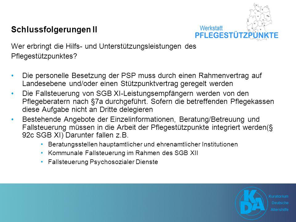 Kuratorium Deutsche Altershilfe Kuratorium Deutsche Altershilfe Schlussfolgerungen II Wer erbringt die Hilfs- und Unterstützungsleistungen des Pflegestützpunktes.