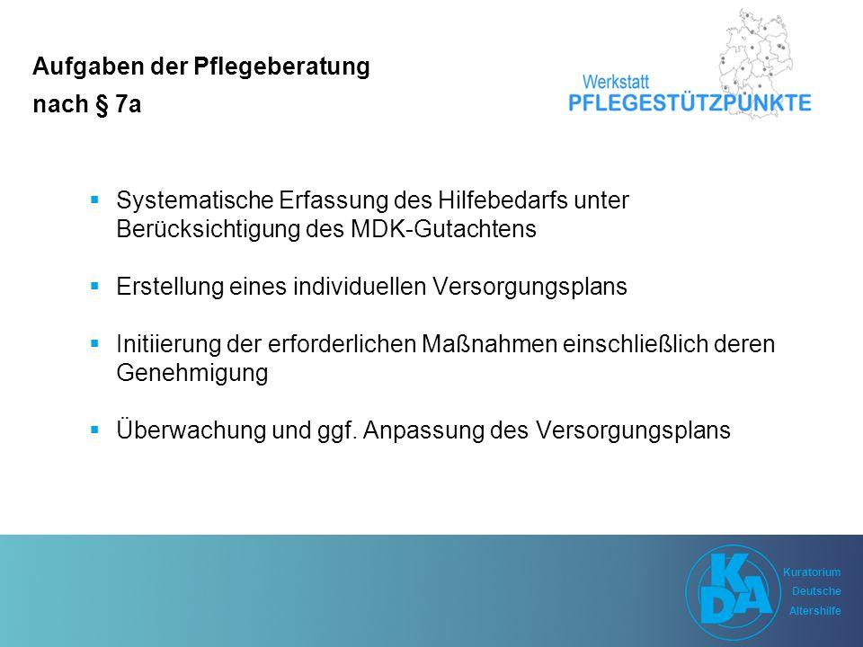 Kuratorium Deutsche Altershilfe Kuratorium Deutsche Altershilfe Aufgaben der Pflegestützpunkte nach § 92c SGB XI  wohnortnahe Beratung, Versorgung und Betreuung  Vernetzung und Koordinierung der Hilfs- und Unterstützungsangebote